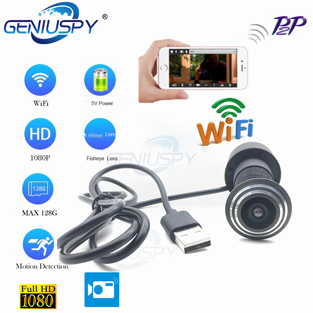 Video Audio 1080P HD H.264 P2P 1.66mm FishEye Lens CCTV Security Peephole Door Eye Wifi Door Peephole Camera TF Card Slot