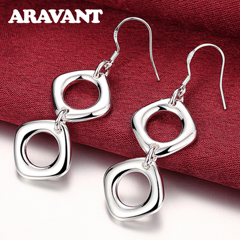 925 Silver Drop Earrings For Women Simple Double Square Wedding Jewelry Best Gift