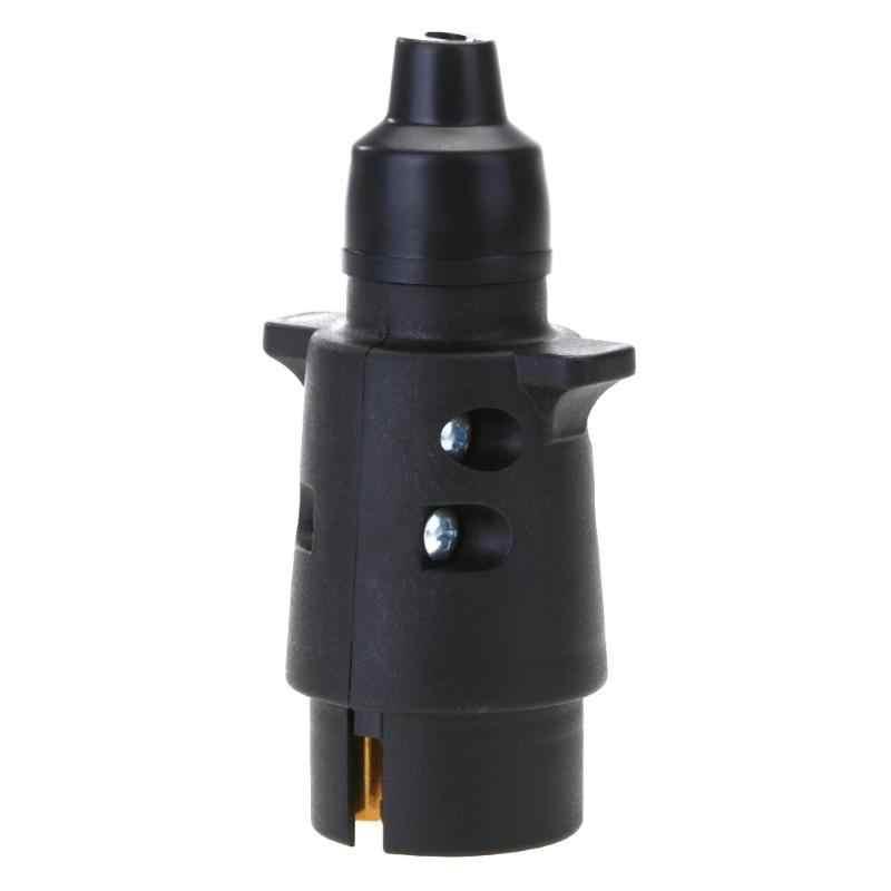 Enchufe redondo de plástico para remolque RV adaptador de enchufe de 7 pines, 12V, 7 vías, enchufe redondo, conector para remolque de camión