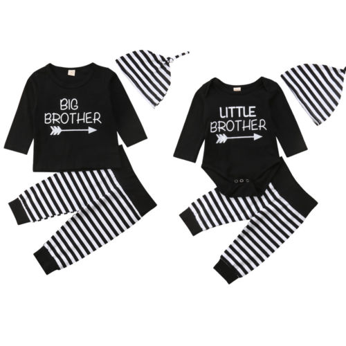 Little Big Brother Boys Matching Outfit Cotton Long Sleeve Top Pants Clothes Set