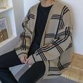 2018 Winter Korean Men Casual Loose Lattice Thickening Oversize Knitting Cardigan V-neck Long Sleeve Plaid Sweater Coat M-2XL