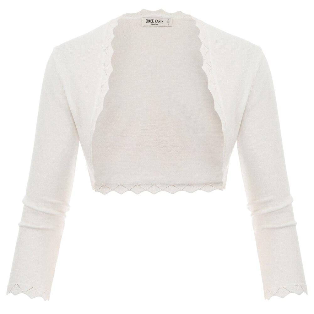 GK Women's Cardigan Shrug Tops 3/4 Sleeve Open Front Solid Slim Bolero Party Copped Stretch Retro Scalloped Knitting Jacket Coat