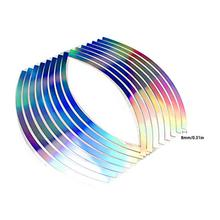Professional 10 12 14 18 Inches Laser Wheel Rim Tape Motorcycle Car Reflective 16 Stripes Reflective Body Sticker 18 motorcycle reflective visual decoration sticker green 16 pcs