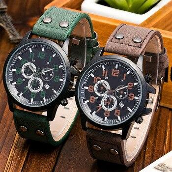 Relogio Masculino 2019 Fashion Military Sport Wristwatch Men Watch Leather Quartz Men's Watch Watch Clock Creative Reloj Hombre