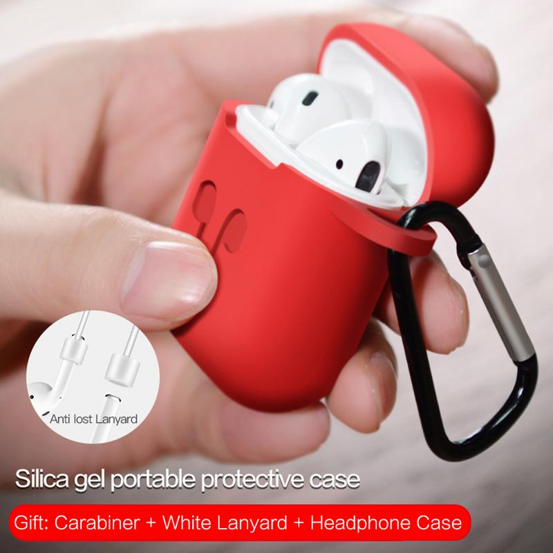 Image 5 - Silicone Soft Protective Case Wireless Bluetooth Earphones Cover Lanyard Anti drop Dust proof Portable Mini Bag For Airpods-in Earphone Accessories from Consumer Electronics