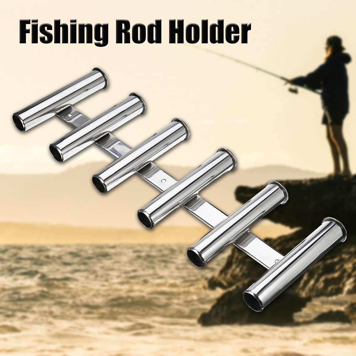 26 pouces/66 cm canne à pêche en acier inoxydable Portable 6 Tubes à maillons bateau marin pôle de pêche support organisateur