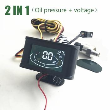 2 в 1 цифровой ЖК-дисплей Автомобильный датчик давления масла Авто вольтметр для грузовика с датчиком давления масла