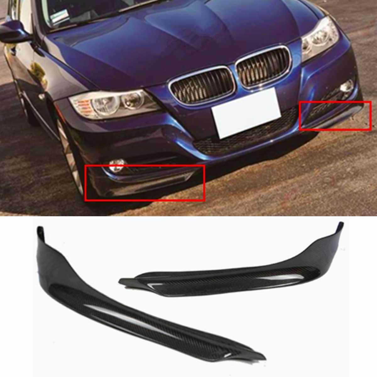 Neue 2x Real Carbon Fiber Car Front Lip Splitter Abdeckung Für BMW E90 E91 3-Serie 4Dr Limousine 2009-2011 Frontschürze Spoiler