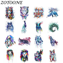 ZOTOONE Iron on Patches for Clothing 1pcs Ink Style Transfers Patch Stalker Badge Animal Tiger Panda Military Applique Clothes E