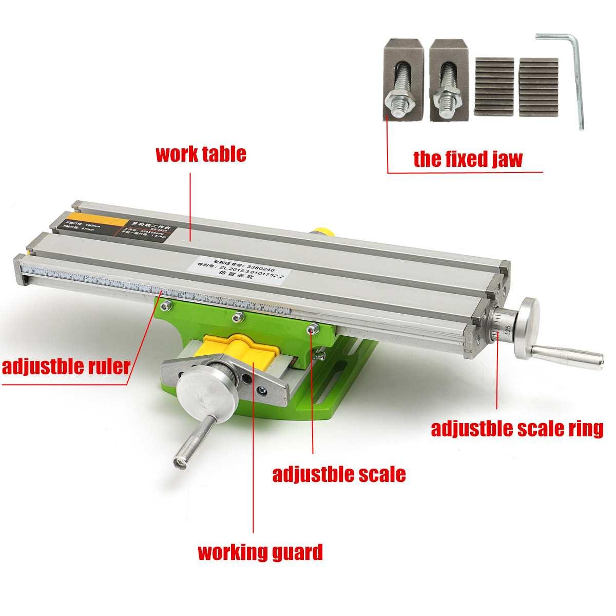 Neue 2 Achsen Fräsen Maschine Verbindung Tisch Arbeitstisch Einstellung X-Y Fräsen Arbeits Kreuz Tabelle Schraubstock Bohren Tisch BG6330