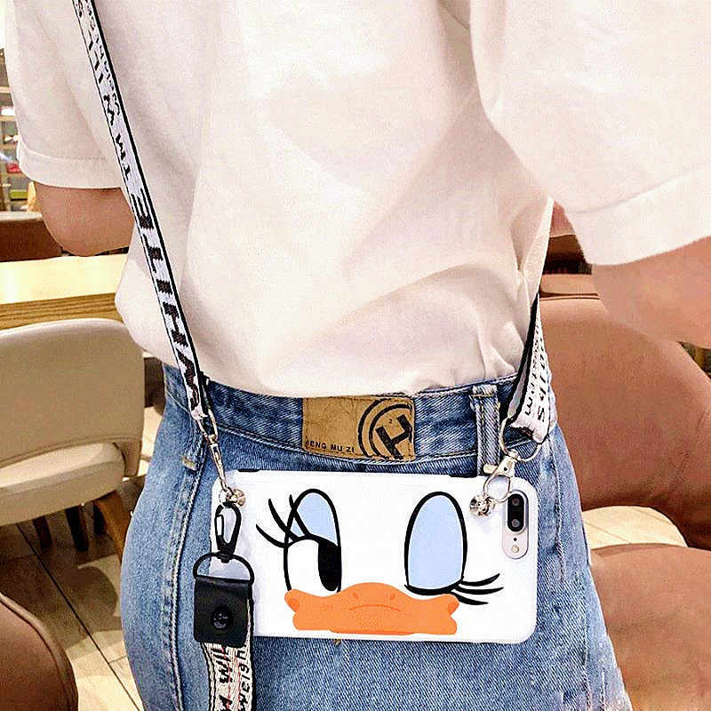 Cartoon Donald Duck Daisy Lanyard crossbody Phone Case For iphone Xs Max Xr X 7 8 6 Plus Shoulder Strap Soft Silicon Phone Bag