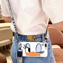 Cute Cartoon Lanyard crossbody Phone Case For iphone Xs Max Xr X 7 8 6 Plus TPU cover Shoulder Strap Soft Silicon Phone Bag capa(China)