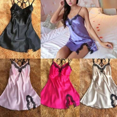 Women's Satin Silk Sleepwear Sleeveless Nightdress Lingerie Night Dress Hot