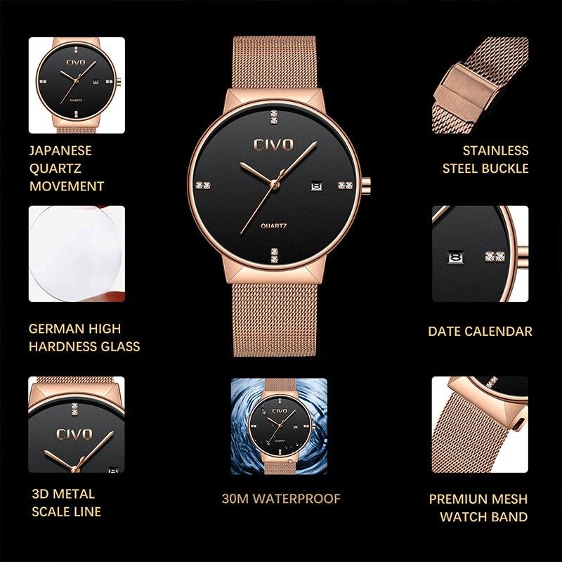 CIVO relojes de oro rosa para hombre, reloj de pulsera de cuarzo, resistente al agua, reloj de pulsera de malla de acero inoxidable para hombre - 3