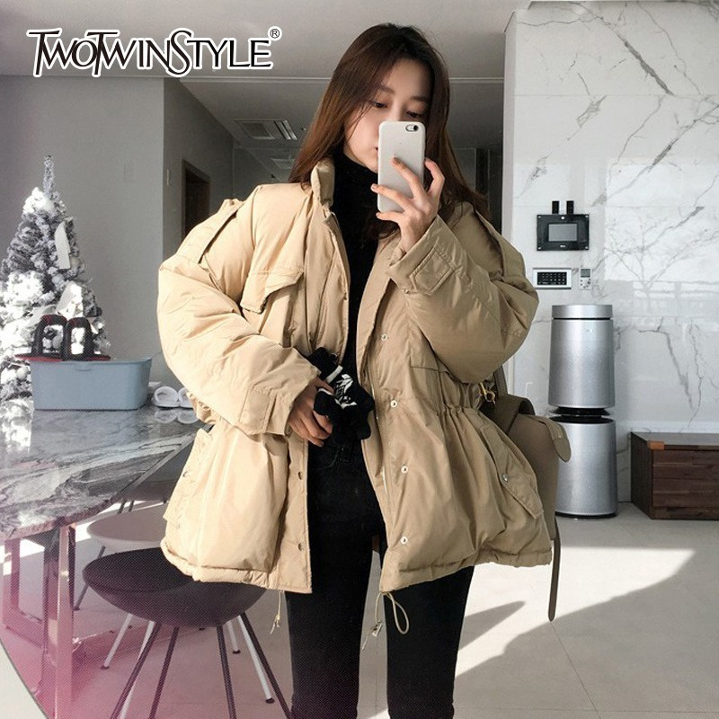 e2bb2121238 TWOTWINSTYLE Casual Women s Jackets Long Sleeve Drawstring Jacket Female  Winter Oversized Outerwear 2018 Korean Fashion Autumn