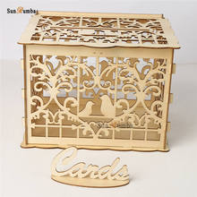 Wooden DIY Wedding Money Box With Lock Party Decor Keepsake Gift Secure Card Holder Container Decoration