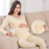 Pure cotton pregnant women's suit spring and autumn warm underwear postpartum lactation pajamas pregnant moonwear