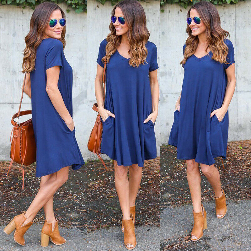NEW Women Sexy V neck Summer Dress Casual Loose Sleeveless Beach Short Mini Dress 2019 Club Wear Ladies Clothing in Dresses from Women 39 s Clothing