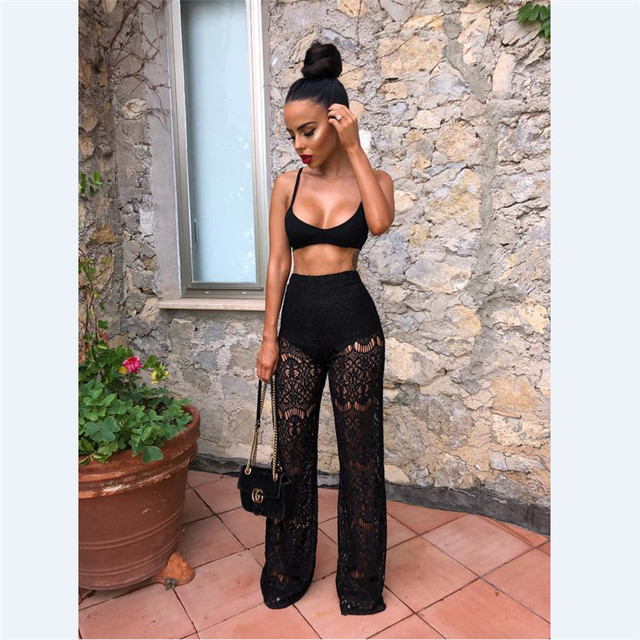 Women Sheer Mesh 2 Piece Set See Through Strapless Crop Top and Pant Set  Club Party Strap Black 2 Piece Outfits 5b610ca065d9