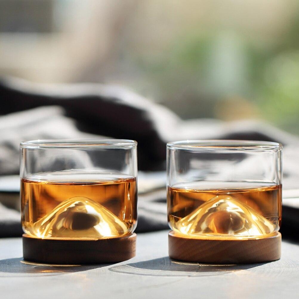1 Pc Thuis Keuken Whiskey Glas Mountain Houten Bodem Ierse Wijn Transparant Glas Cup Voor Wodka Bar Club Scotch Lover