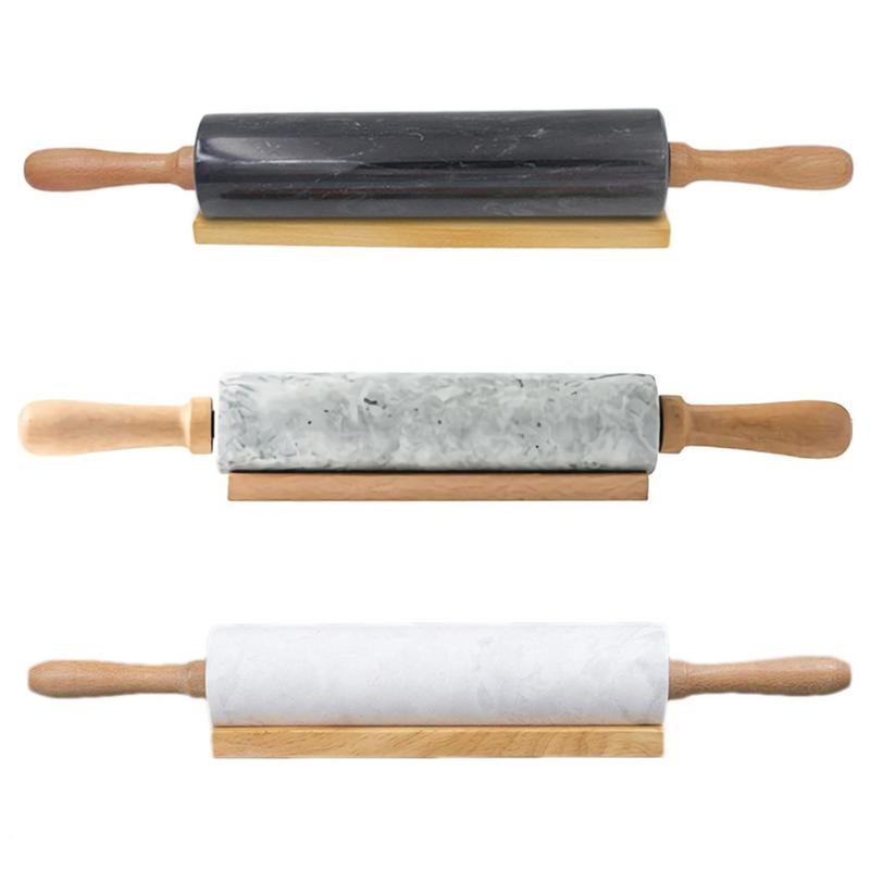 Rolling Pin with Natural Marble Roller Solid Wood Base Home Kitchen Utensils Baking Tools