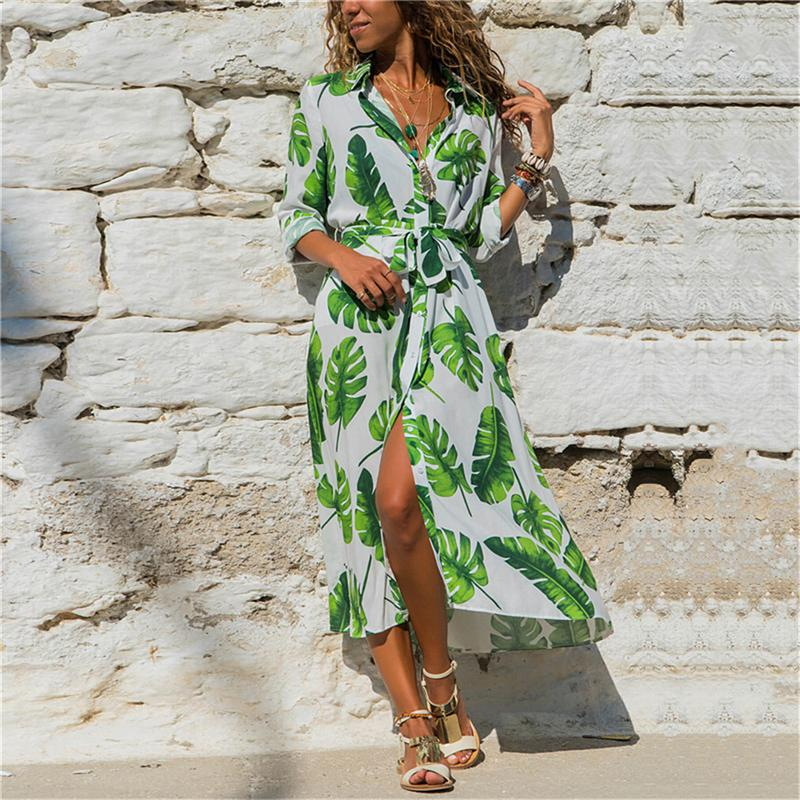 a624b72f011 Leaf Women Long Maxi Dress 2018 Summer Floral Print Boho Style Beach Dress  Casual Bandage Party Dress Vestidos Plus Size Kimono