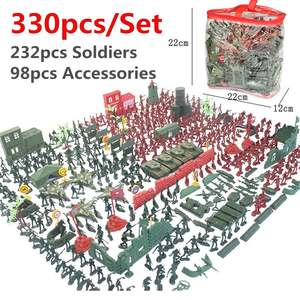 330pcs Military Plastic Model Playset Kit Toy s Figures Accessories Model Sandbox Game Military Army Men Figure