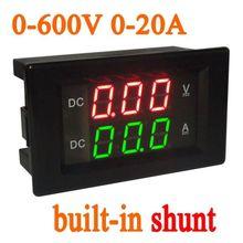 0 600 فولت 20A تيار مستمر الفولتميتر مقياس التيار الكهربائي المدمج في تحويلة العرض المزدوج LED الرقمية فولت أمبير إشارة ل 12 فولت 24 فولت سيارة الجهد الحالي 300 فولت
