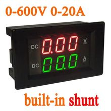0 600V 20A DC Voltmetro Amperometro Built in shunt Doppio display LED Digital volt AMP Indicazione PER 12V 24V auto Tensione di corrente 300V