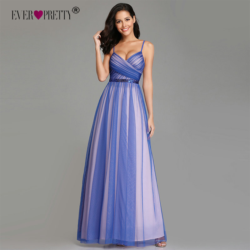 Sexy Prom Dresses 2019 Ever Pretty EZ07634 Plus Size Elegant A-line Tulle Sleeveless Sequined Long Party Gowns For Wedding Guest