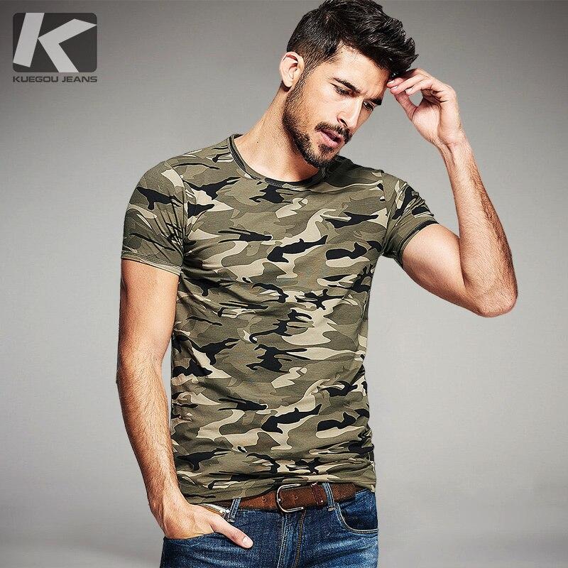 KUEGOU קיץ Mens אופנה T חולצות הסוואה צבא ירוק מותג בגדים לגבר של ללבוש קצר שרוול Slim חולצות חולצות טי 1192
