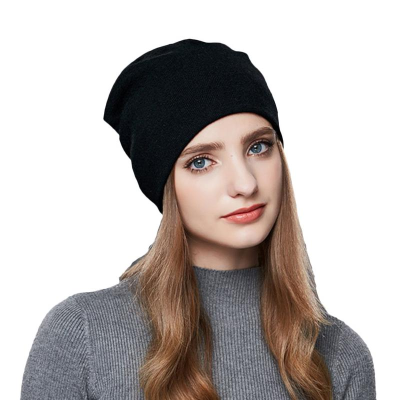 Female Autumn Hat Solid Winter Cap for Women Beanie Girls Knitted Cap,
