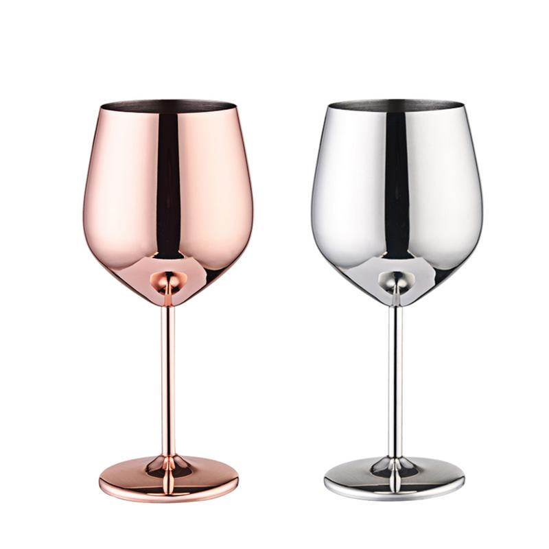Wine Glasses Copper Silver Rose Gold Stainless Steel Goblet  Juice Drink Champagne Goblet Party Barware Kitchen Tool 500ML wine glass
