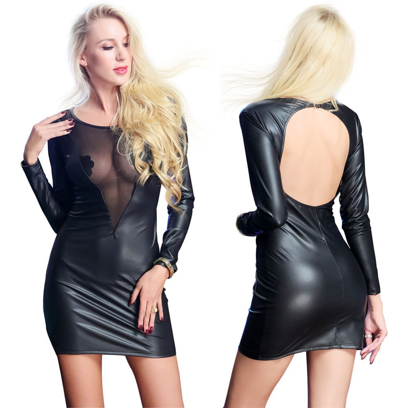 PU Leather Women Hollow Out Backless Mini Dress 2019 New Sexy Bodycon V Neck Dress Party Club Vestidos