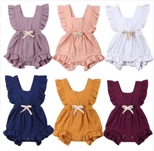 Newborn Baby Girls Ruffle One-Pieces Sleeveless Solid Color Backless Bow Romper