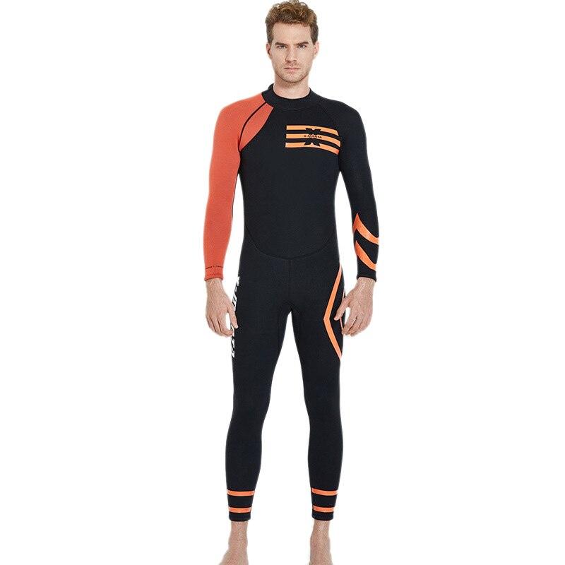Plongée & voile noir Orange plongée sous-marine combinaison homme 3Mm néoprène natation Surf Triathlon combinaison humide maillot de bain complet body hiver Ke