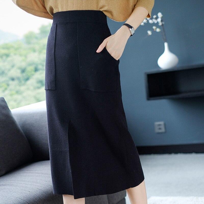 Black Ol Faldas Nueva Split Y Mujeres Cintura Falda En Primavera Marca camel Xl Las De Slim Bolsillo Otoño La Punto 2019 AqBpPHw