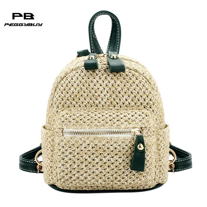 Straw Backpacks Women Mini Shoulder Bag Weave Hollow Out Travel Bagpack Schoolbags For Teenage Girls Beach Bags Mochila Feminina