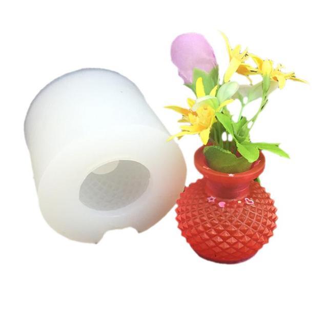 3D Vaso Molde de Silicone de Modelagem Pode Inserir Flor Gota de Cola DIY Molde de Chocolate Decoração Do Bolo Molde Fondant Molde de Silicone