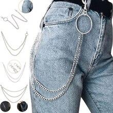 1 слой/2 слоя/3 слоя рок-панк крюк для брюк пояс-цепочка металлические серебристые звенья ремни для женщин мужские цепи поясные ремни