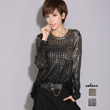 #1411 Spring Hip Hop Sweater Irregular Gold/Silver Knitted Sweaters Ladies Hollow Out Loose Pulover Womens Asymmetrical