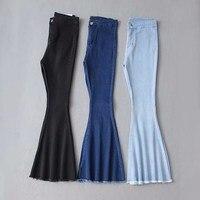 Female Boyfriend Jeans Women Skinny Jeans Woman Black High Waist Jeans Denim Flare Pants
