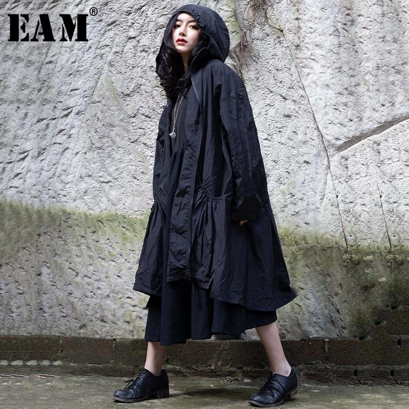 [EAM] 2019 nouveau automne hiver revers à capuche fermeture éclair manches longues plissée lâche personnalité coupe-vent femmes Trench mode 1C104