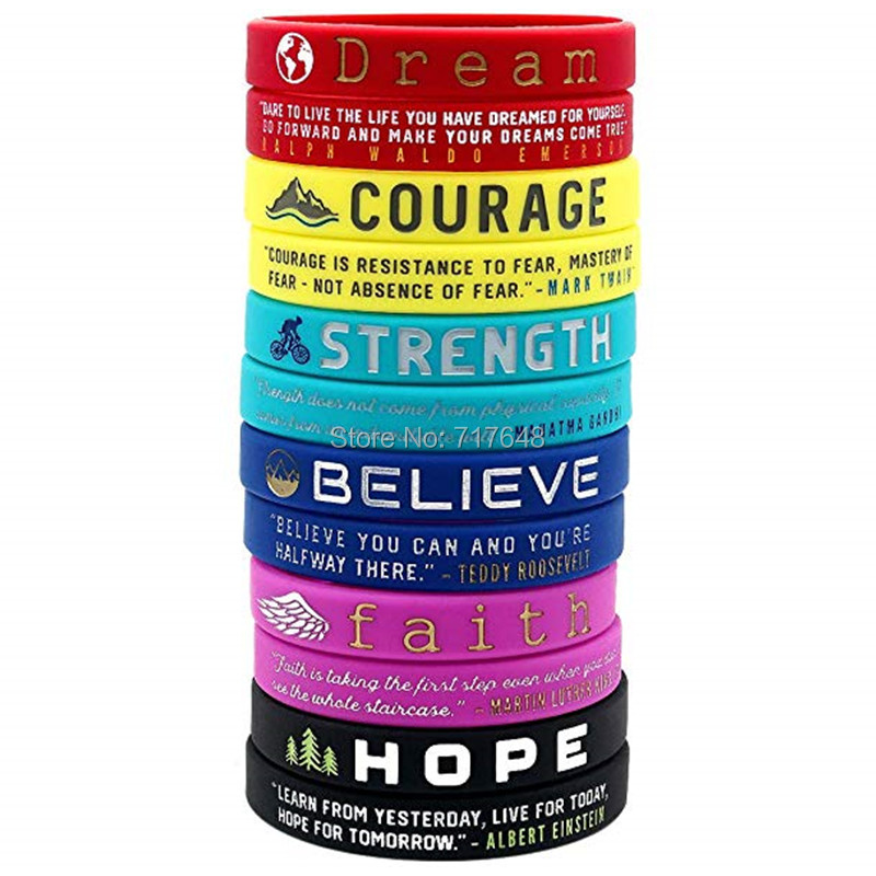 300pcs Bible Verses Dream Courage Strength Believe Faith Hope wristband silicone bracelets free shipping by FEDEX