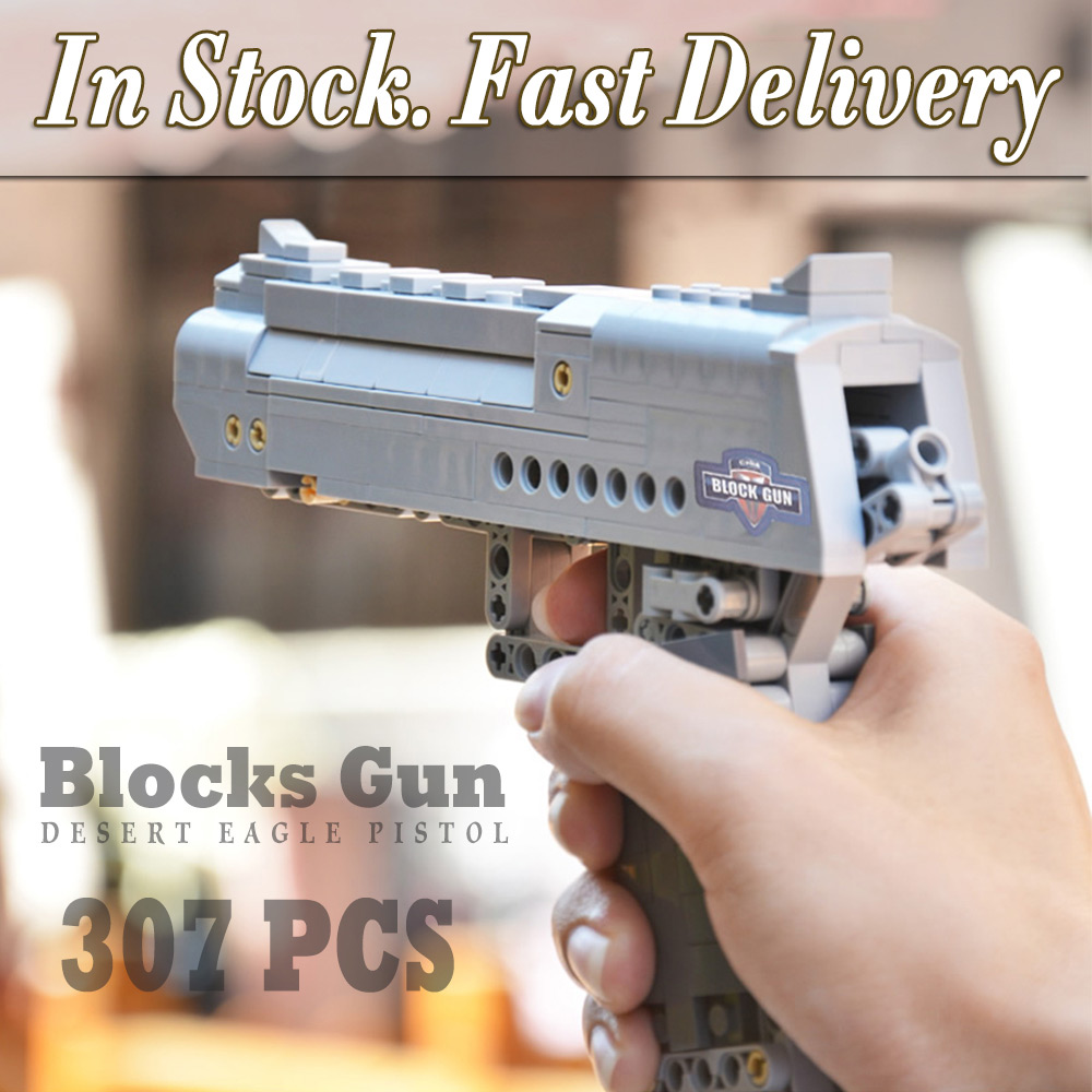 Building Blocks Toy Kit Desert Eagle toy gun for boys fire bullets Technic  DIY bricks Pistol UZI toys for children kids