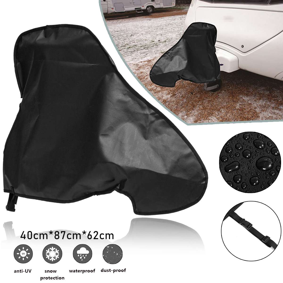 87x62x40cm Universal Waterproof Caravan Towing Hitch Cover Rain Snow Dust Dustproof Protector For RV Tailer