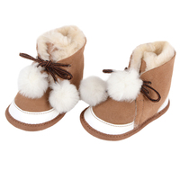 Genuine Leather Newborn Baby shoes sheepskin with fur toddler Girl boy First Walkers shoes lace up super warm boots