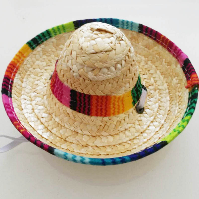 Image 5 - 6X Puppy Mini Pet Dogs Sombrero Sun Hat Beach Party Straw Hat Mexican Summer Cap Pet Products Hawaii Style Cats Caps-in Shade Accessories from Home & Garden