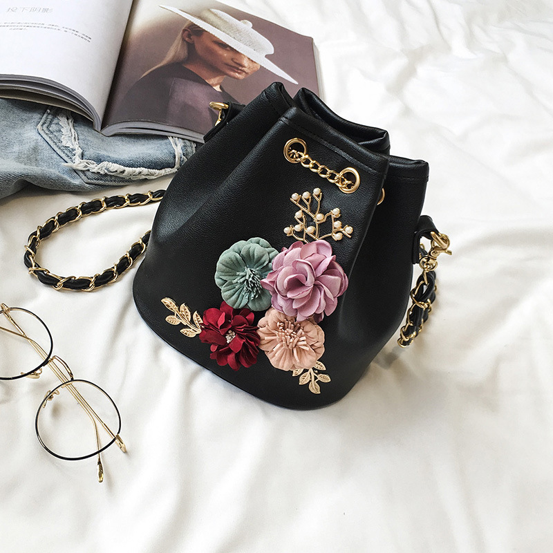 Handmade Flowers Bucket Bags Mini Shoulder Bags With Chain Drawstring Small Cross Body Bags Pearl Bags Leaves Decals