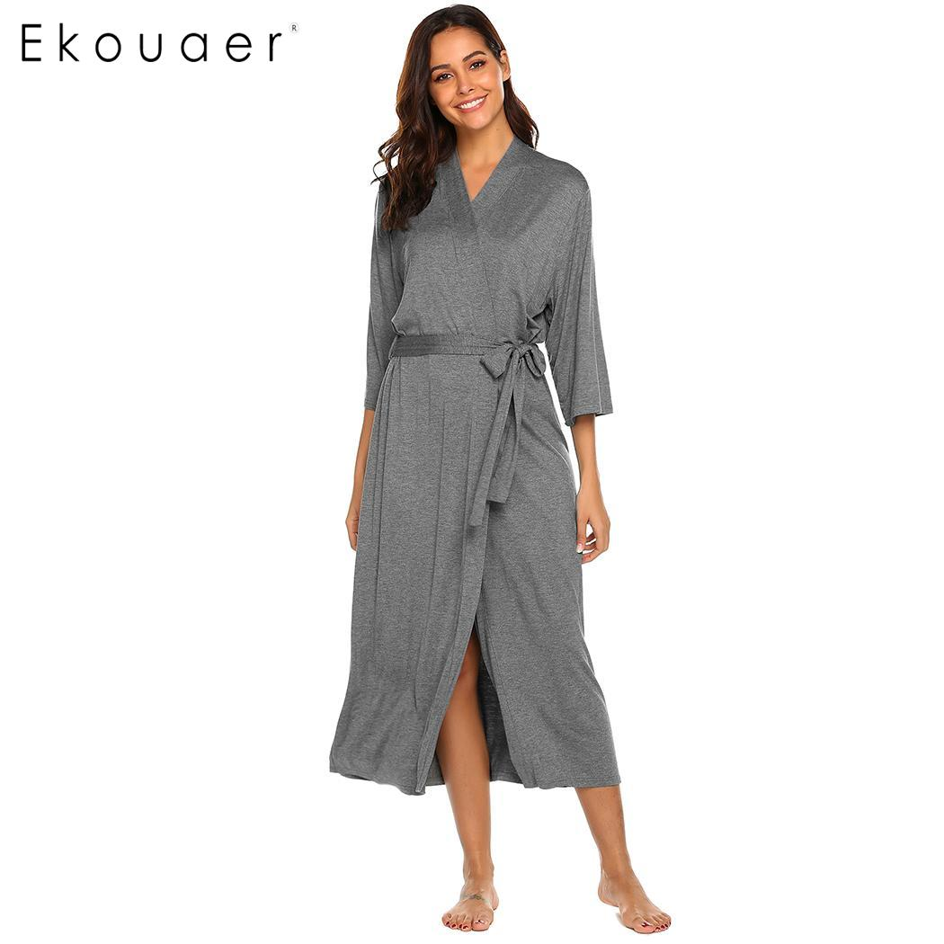 Ekouaer Long Robe Dressing Gown V Neck Long Sleeve Robe Sleepwear Nightgown Bathrobes Women Solid Casual Comfortable Loose Robes